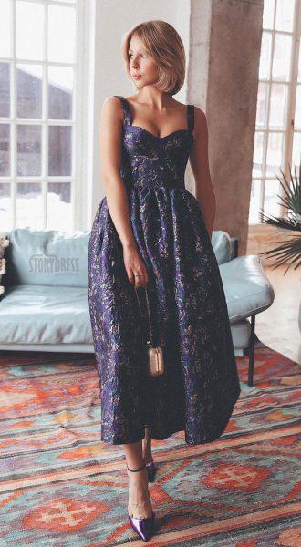 Коктейльное платье на широких бретелях Barbie Blue