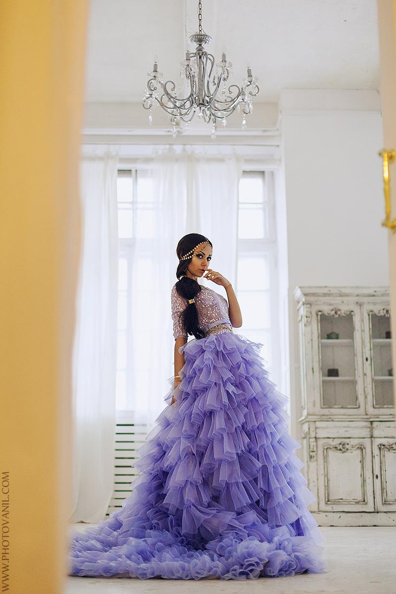 Фотосессия в студии с пышным платьем