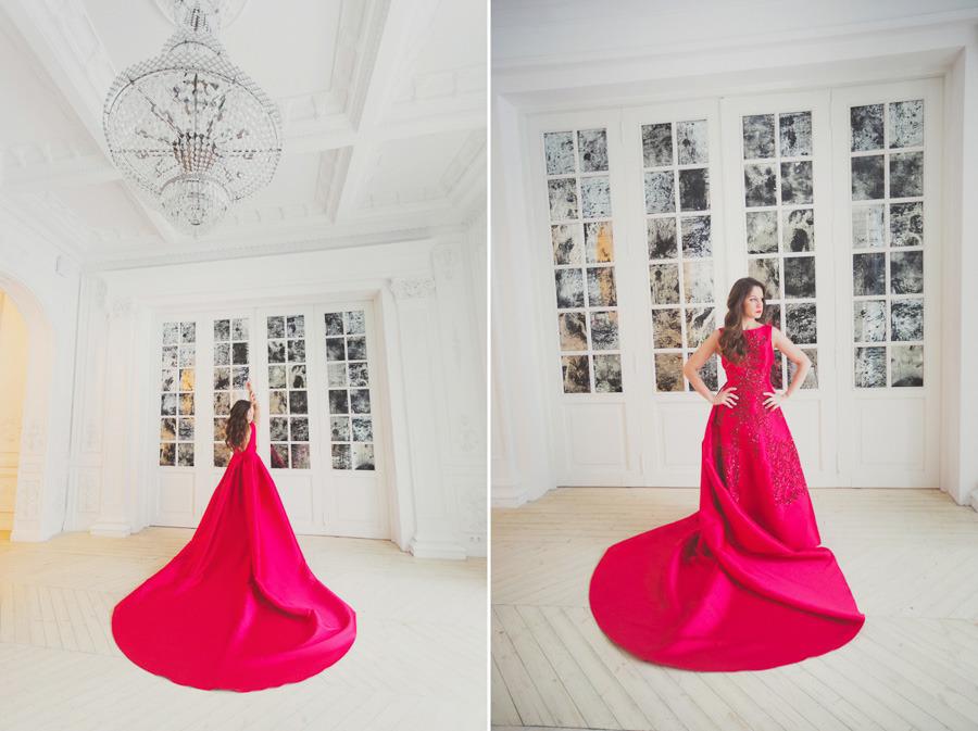 Алое платье с огромным шлейфом прокат Москва