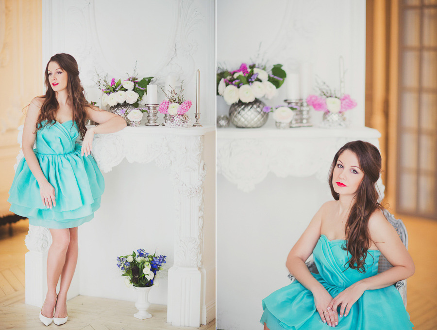 Фотосессия в бирюзовом платье