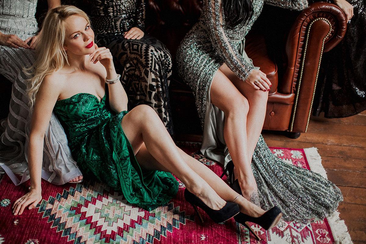 Зеленое платье в аренду для фотосессии девичника