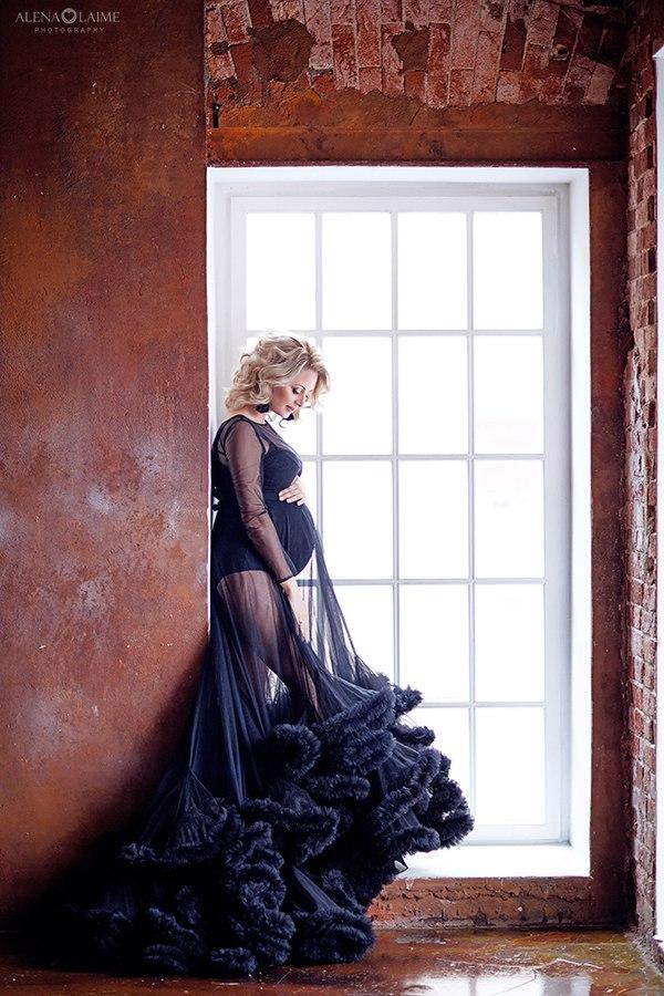 Черное прозрачное платье-облако