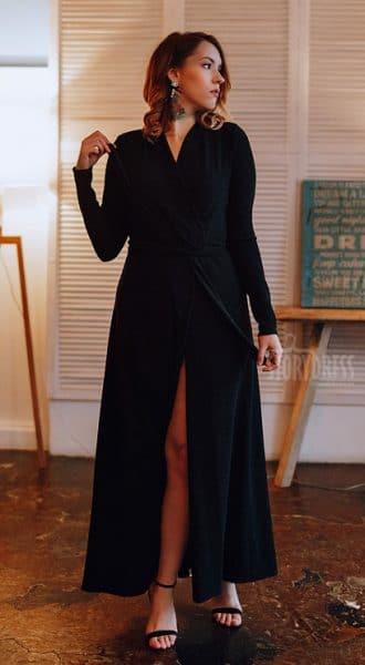 Черное платье-халат с люрексом Lurex Black Robe
