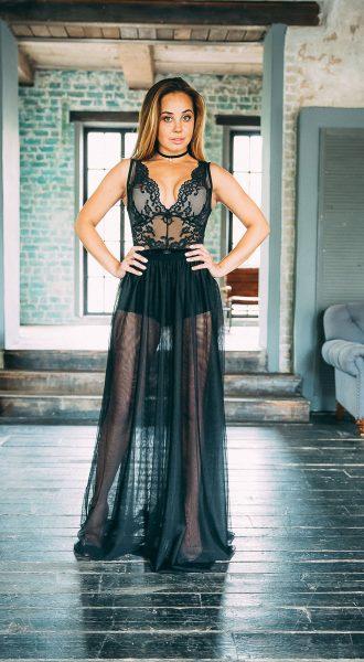 Ультрастильная прозрачная юбка в пол