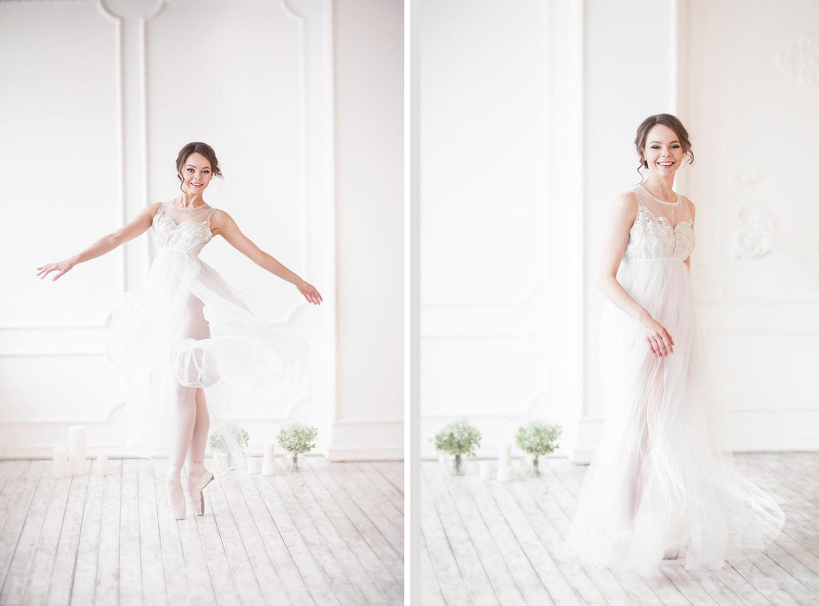 Фотосессия балерины в воздушном пеньюаре