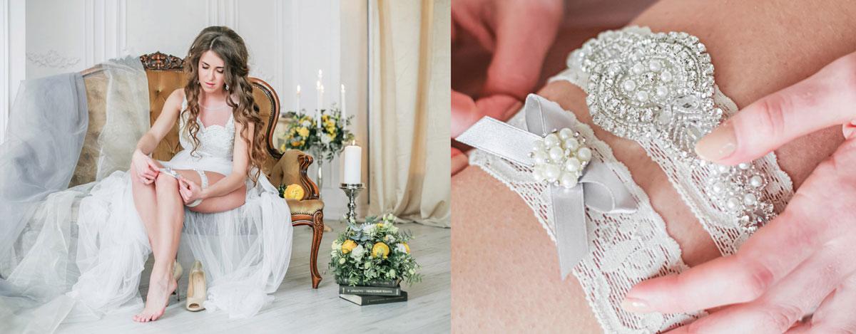 Фотосессия в белом платье с подвязками