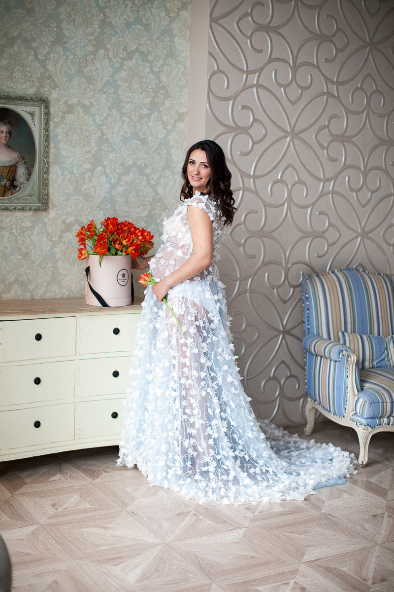 Фотосессия в белоснежном будуарном платье