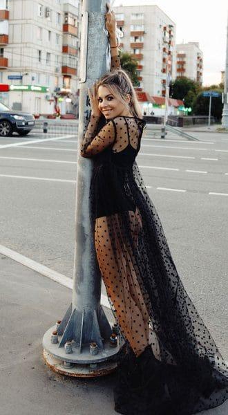 Черное будуарное платье в горошек Sonia Black