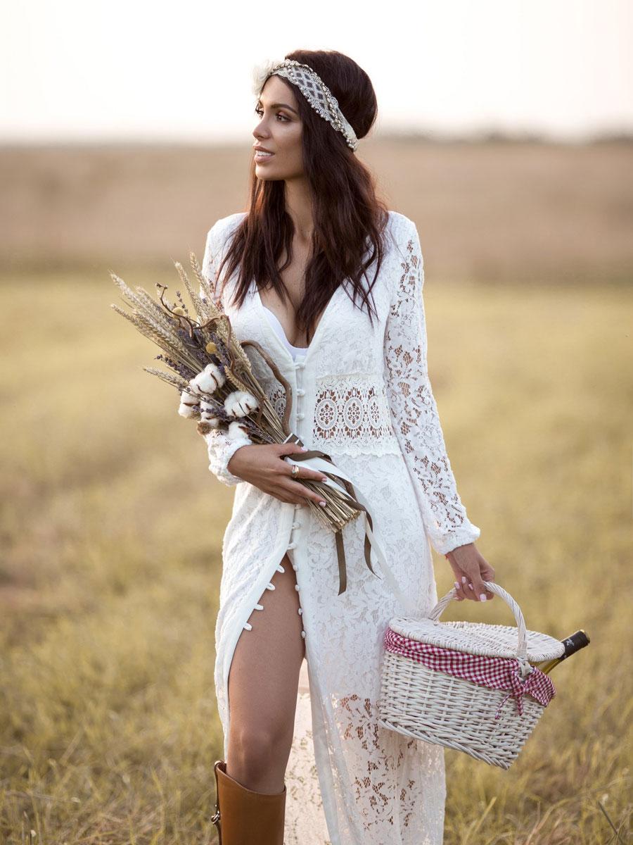 Будуарное платье-халат на пуговицах Taira