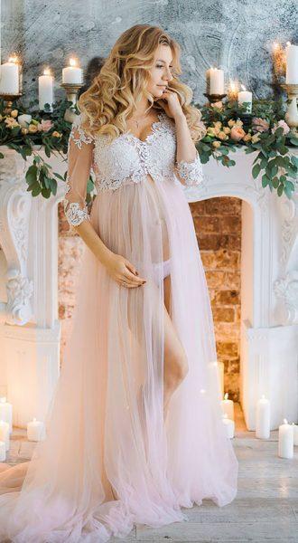 Персиковое будуарное платье Sophie Peach