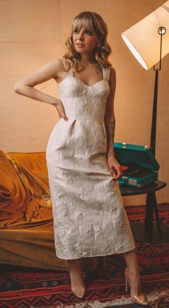 Коктейльное платье из фактурного жаккарда Barbie Tulip