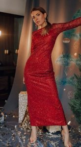 Платье длины миди Gwen Red