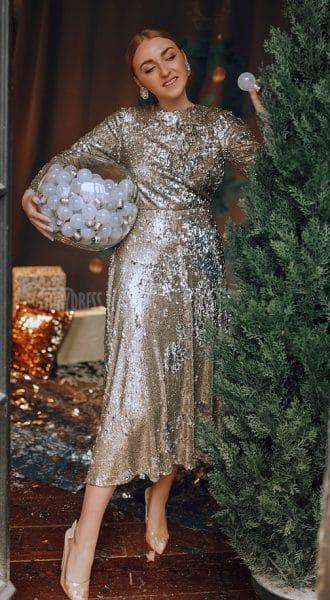 Коктейльное платье с воротником Nia Silver