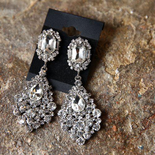 Серьги с серебряными кристаллами