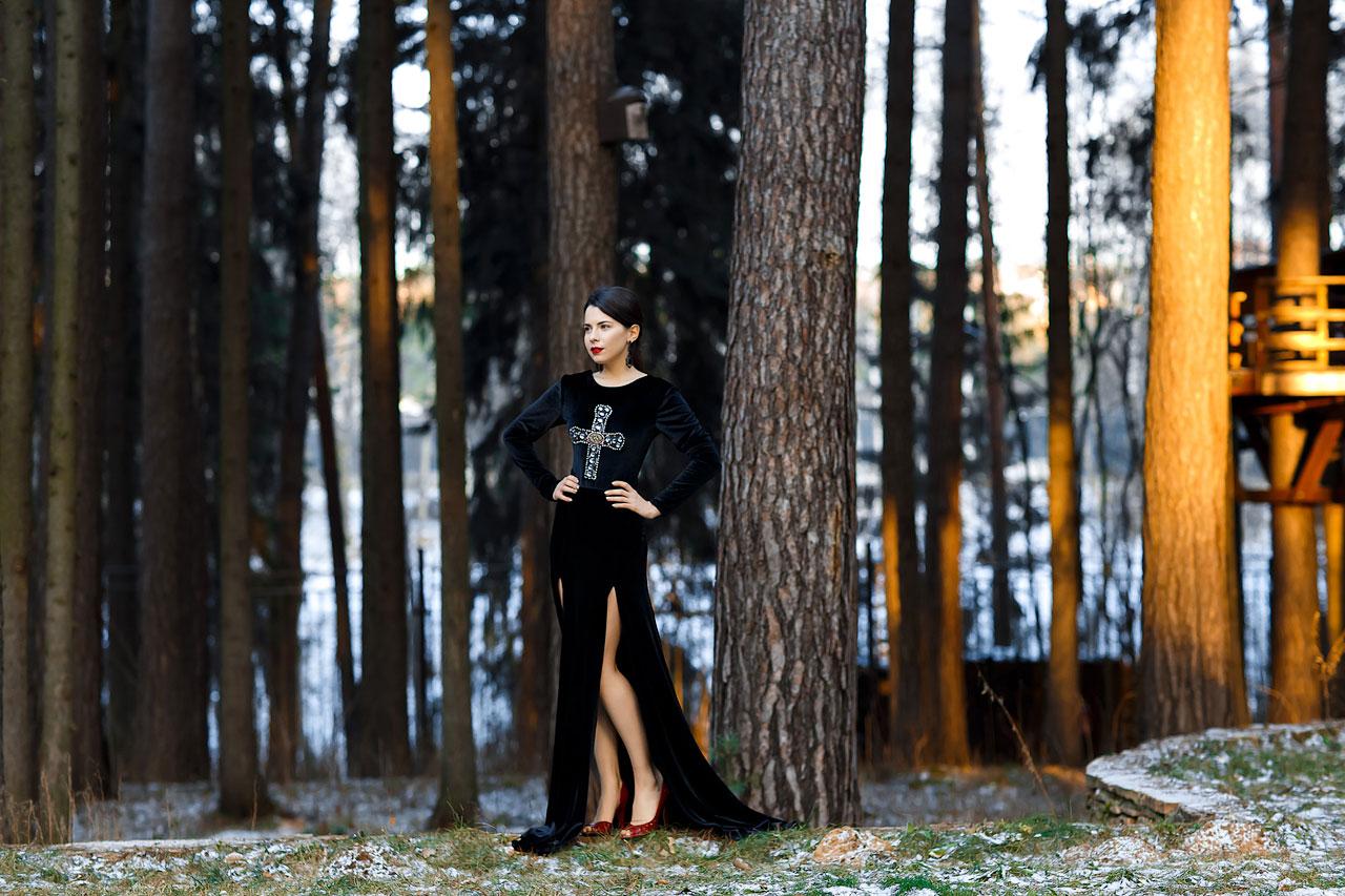 фотосессия зимой в платье