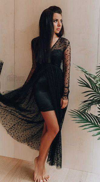 Спереди короткое сзади длинное платье Black Snow