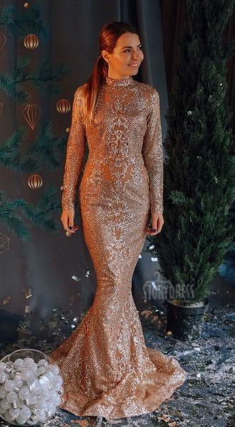 Платье со шлейфом Cindy Gold