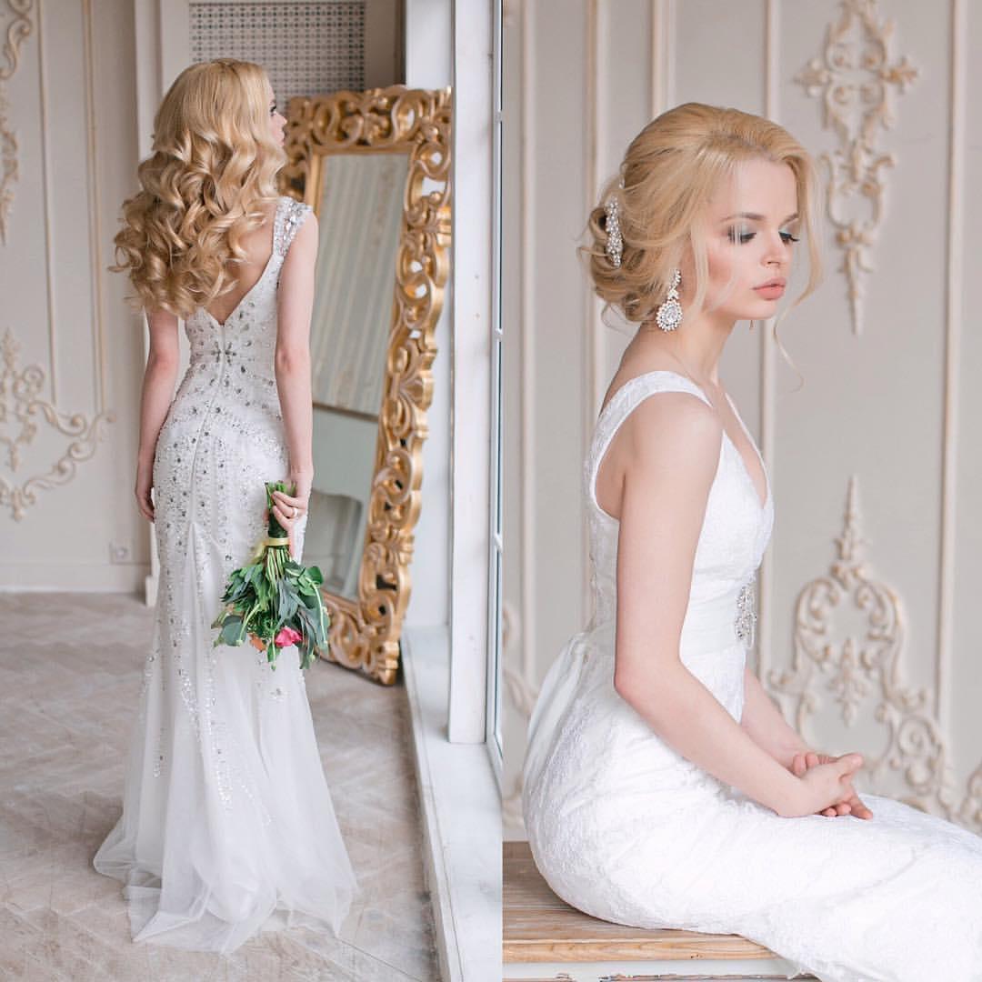 Белое вечернее платье с камнями