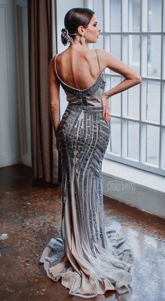 Серое вечернее платье облегающего силуэта Dior Gray Discount