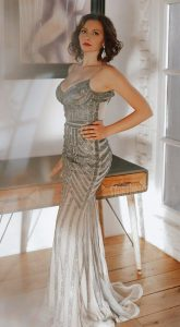 Вечернее платье с кристаллами Dior Gray
