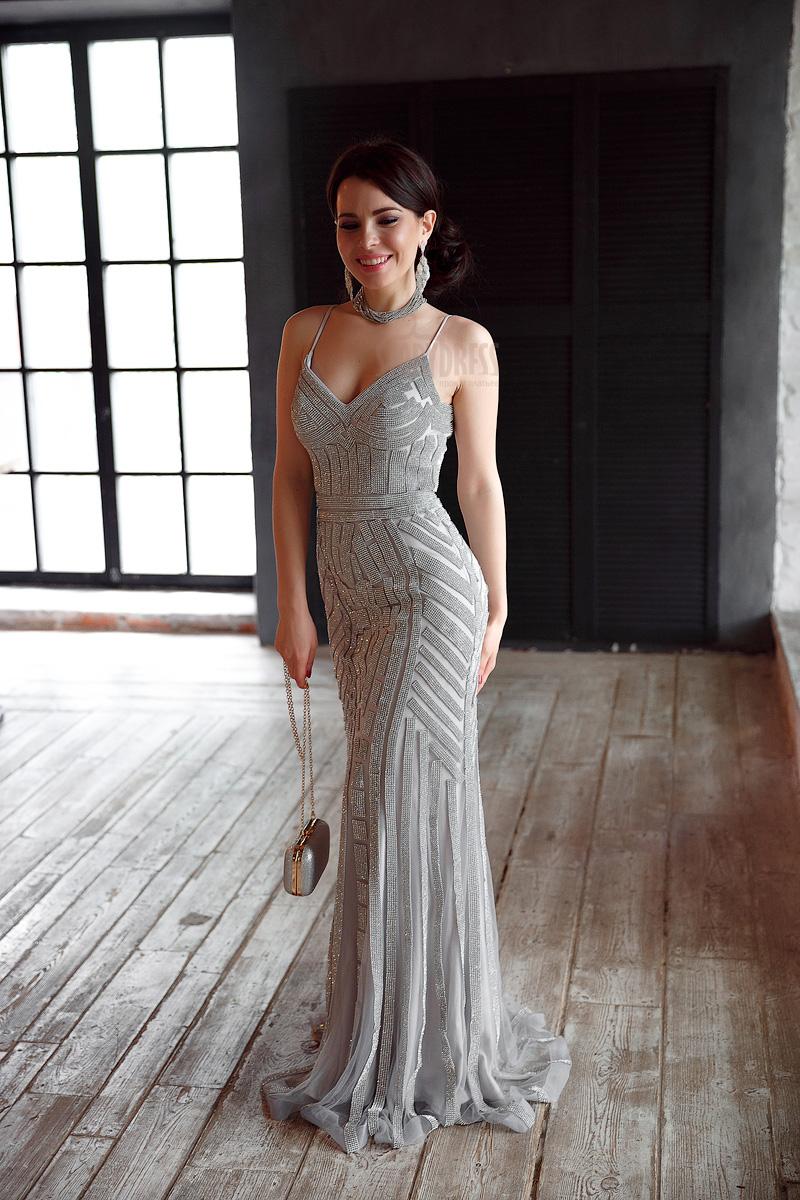 Серебряное модное платье