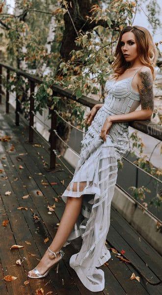 Серебряное платье в пол на бретелях Dior Silver