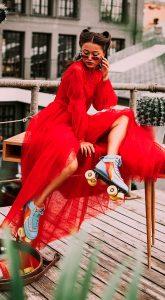Красное вечернее платье с корсетом Dotty Red