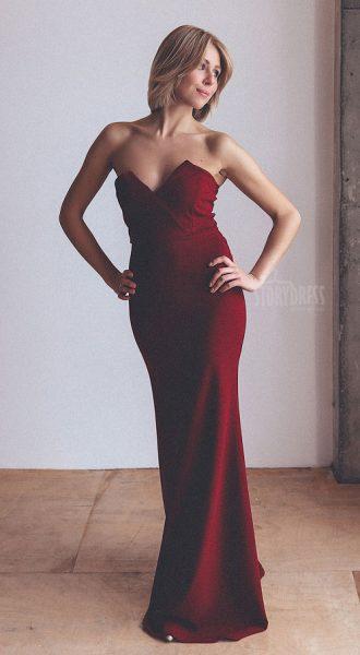 Красное платье-бандо Furore