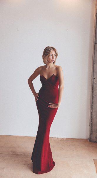 Красное платье-бюстье аренда Москва