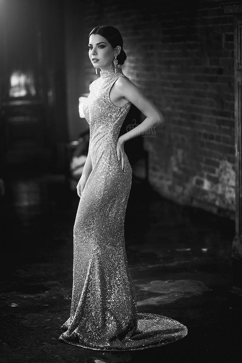 Платье русалка с воротником стоечкой