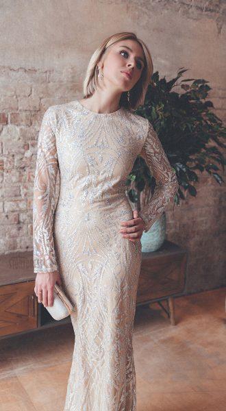 Светлое платье с блестками прокат