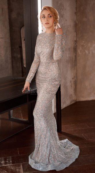 Закрытое платье-рыбка со шлейфом Luxury Booze 09
