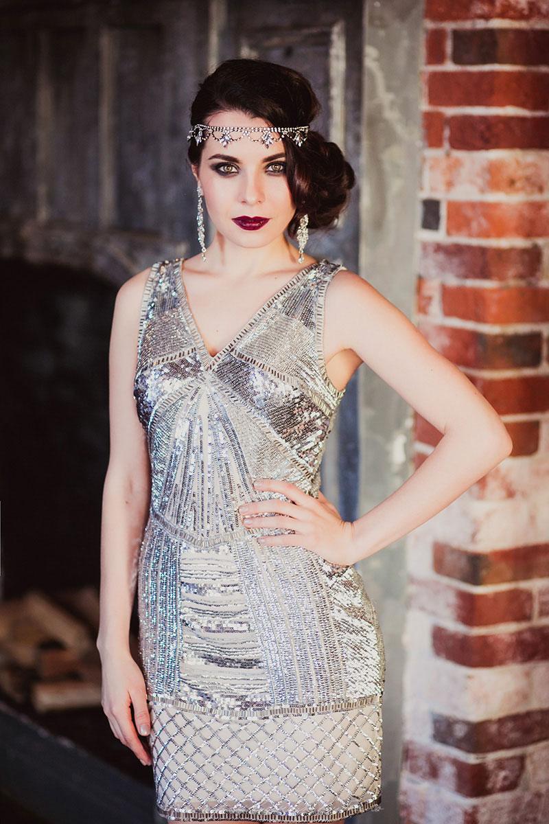 Вечернее платье Гэтсби из серебряных пайеток