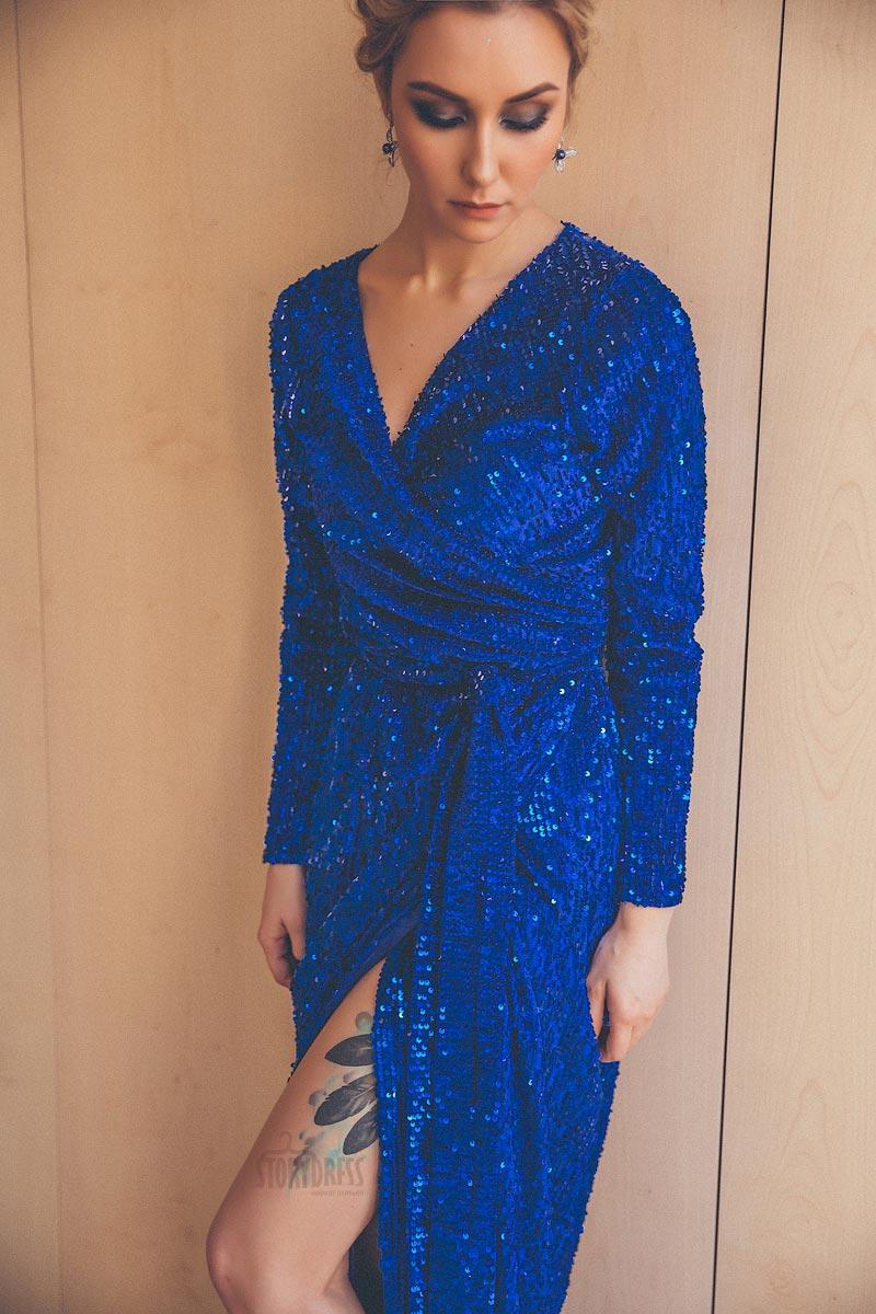 Синее платье халат в аренду Москва