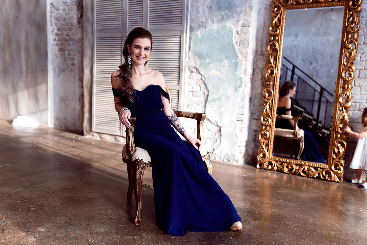 Синее платье в пол прокат