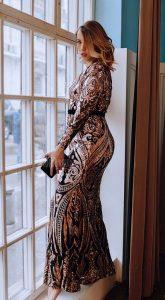 Вечернее платье с восточным орнаментом Penny Black