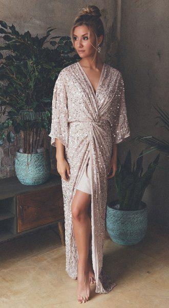 Вечернее платье халат Hanna Beige