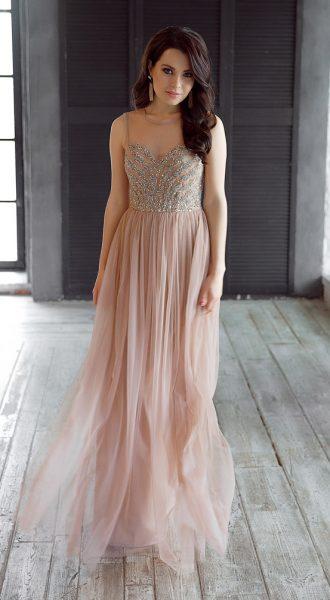 Вечернее платье телесного цвета Summer Night