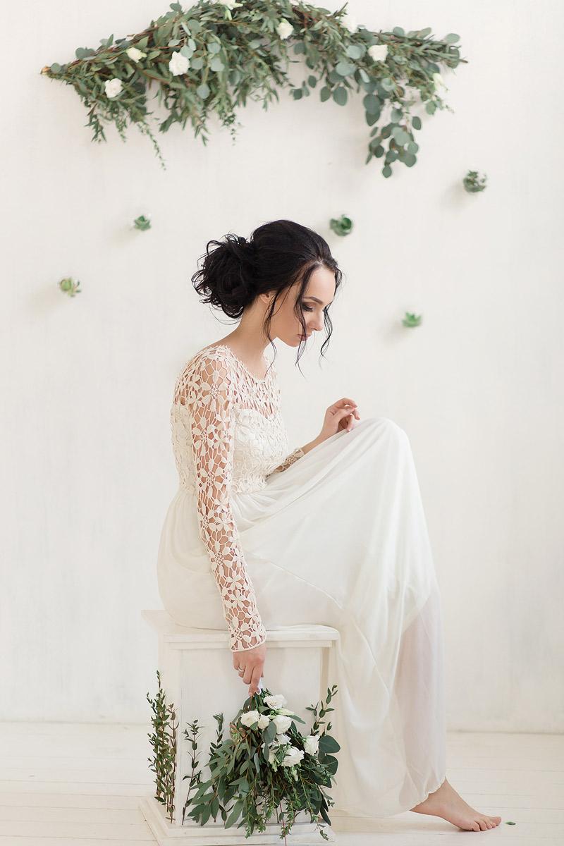 Кремовое платье с ирландским кружевом