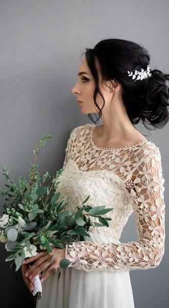 Айвори платье с вышивкой