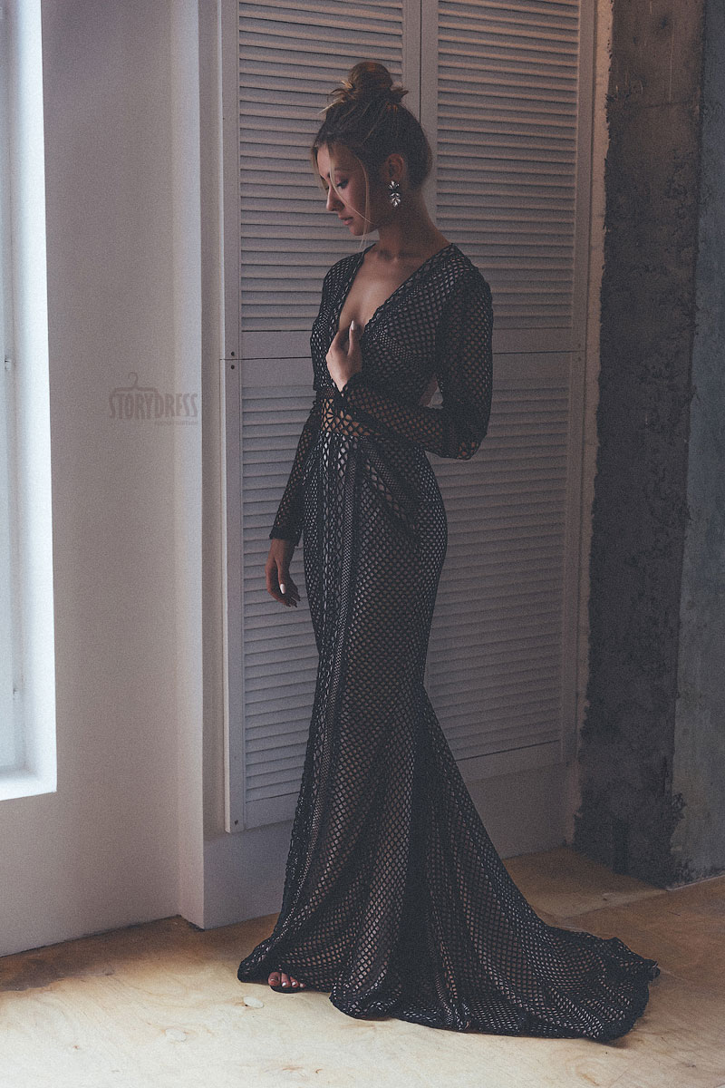 Красивое черное платье в аренду