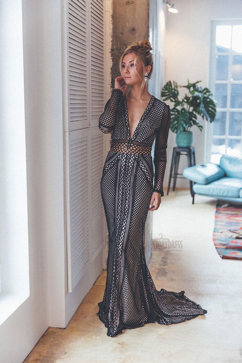 Вечернее платье из вязаной сетки