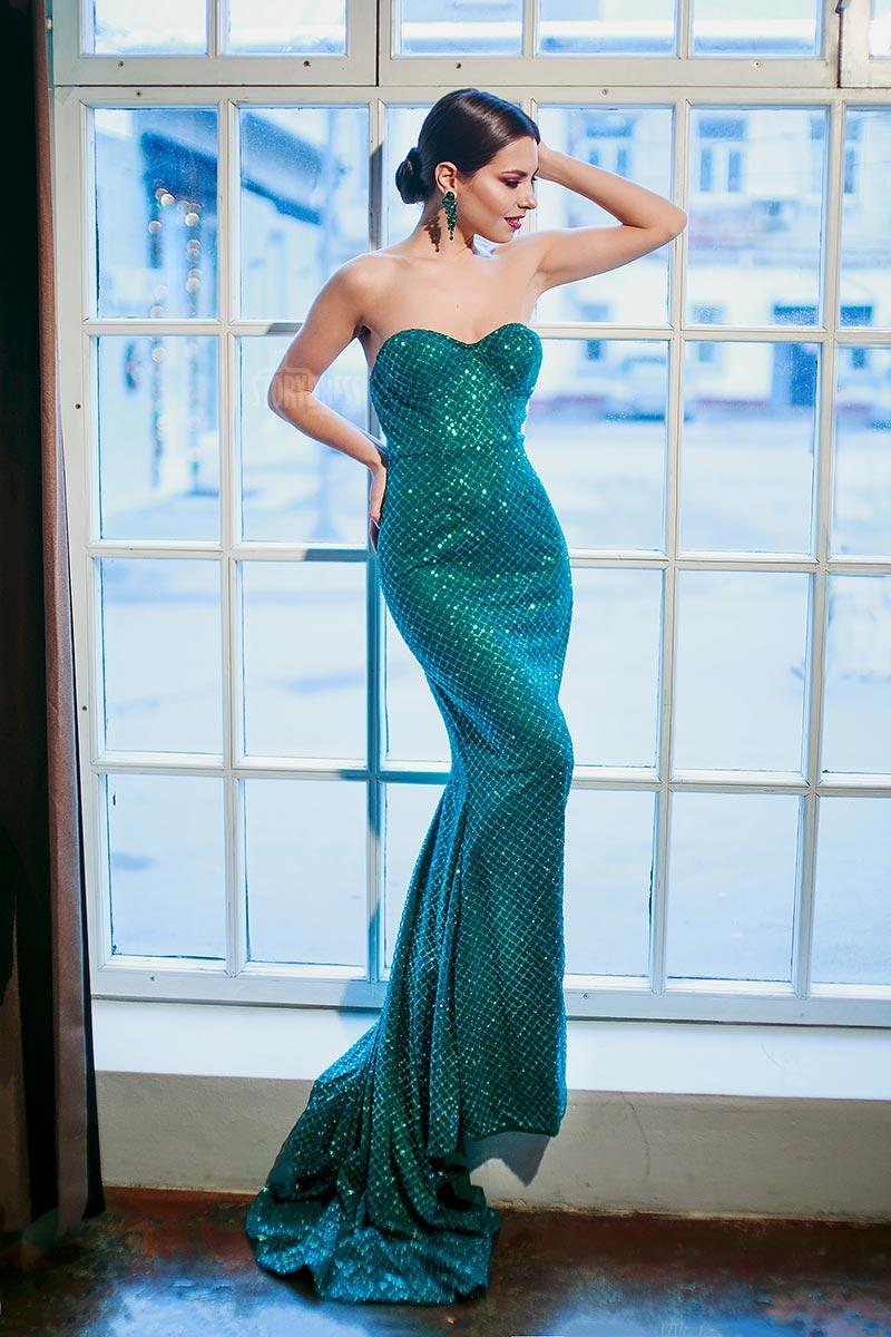 Платье-бюстье зеленого цвета
