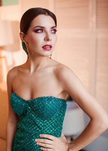 Зеленое корсетное платье аренда Москва