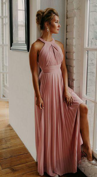 Вечернее платье плиссе Penelope Powder Pink