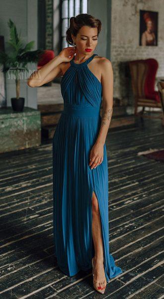 Вечернее платье плиссе Penelope Sea Wave
