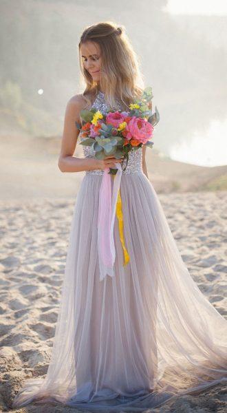Вечернее платье с серыми пайетками Butterfly Gray