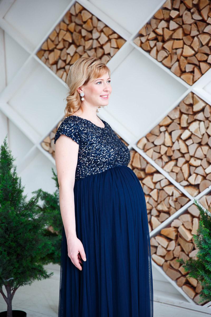 Платье синего цвета для беременной