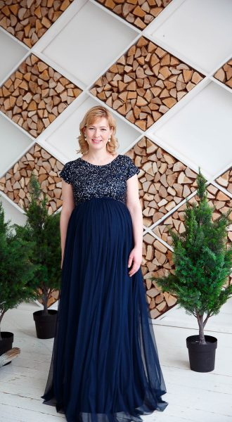 Вечернее синее платье со сверкающим верхом