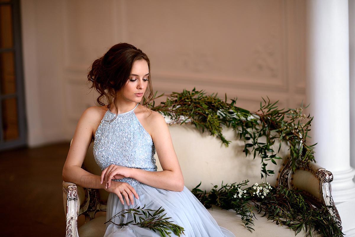 Легкое удивительное нежно-голубое платье-американка